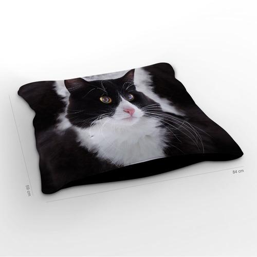 almofadão gato norueguês da floresta preto e branco 85x60c
