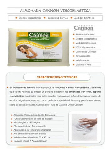 almohada cannon viscoelastica clasica 62x45 - premium