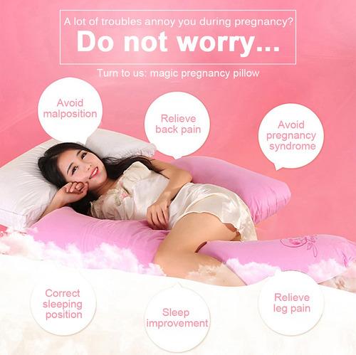 almohada de embarazo multifuncional en forma de media luna