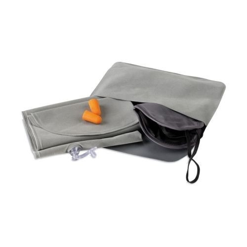 almohada inflable set tapa ojos y oidos color gris con funda