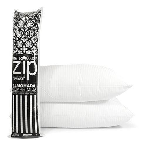 almohada inteligente zip vellon siliconado percal 180h x 2 u