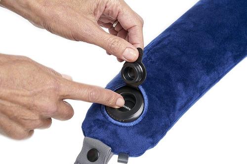 almohada para viaje travelrest azul y gris