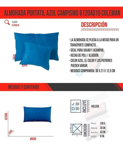almohada portatil azul campismo poli algodon viajar coleman