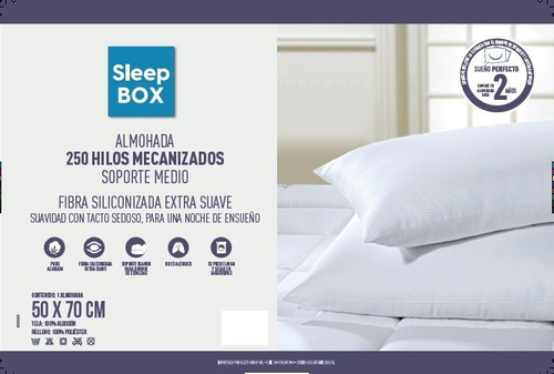 almohada soporte medio sleep box x 2 unidades