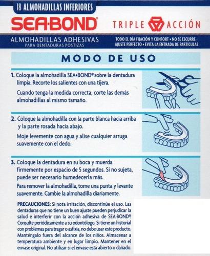 almohadilla adhesivas dentadura postiza sea bond superiores + inferiores