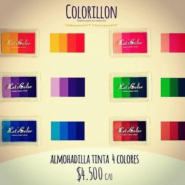 Almohadilla huellero sellos tinta 4 colores diversos - Tonos de colores ...
