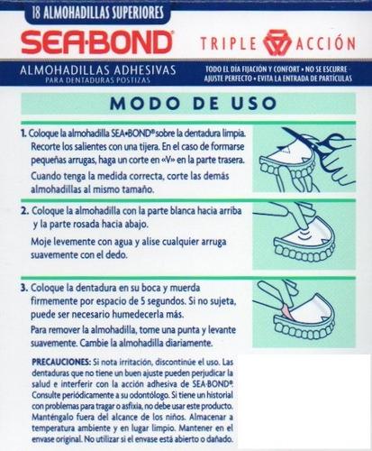almohadillas dentadura postiza superior adhesivas sea bond