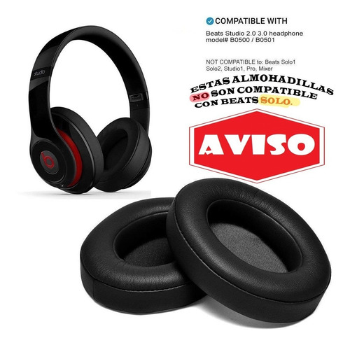 almohadillas earpads beats studio 2 & 3 reemplazo repuesto