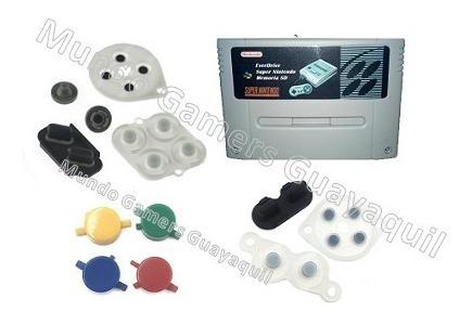 almohadillas gomas silicon super nintendo nes botones casset
