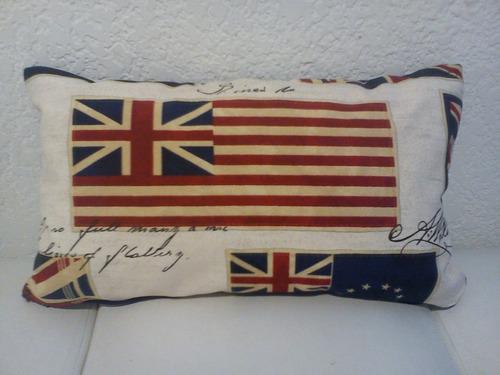 almohadon britanico retro vintage maritimo 30 x 50 cms