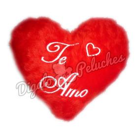 Almohadon Corazón De Peluche Bordado Personalizado 2 Caras