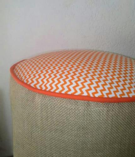 almohadon puff en arpillera tela tapiceria