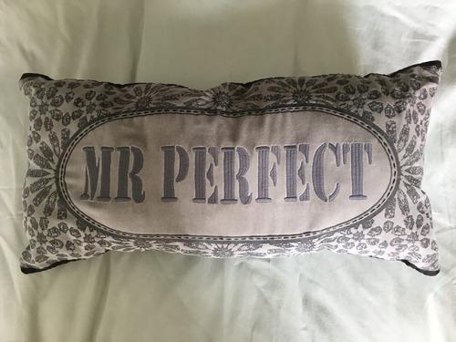 almohadón rectangular gris bordado estampa inscripción frase