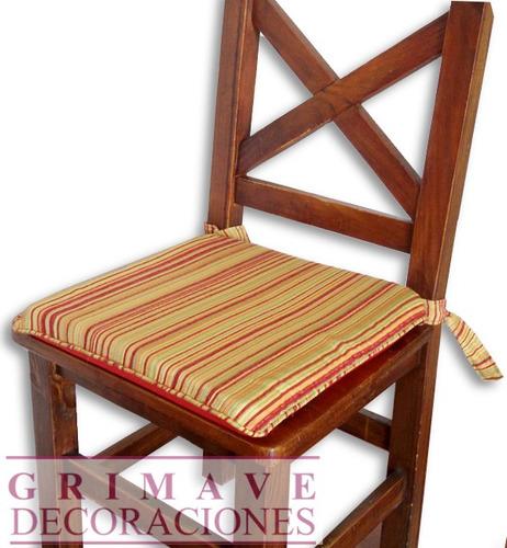 almohadón silla 40x40x4. chenille raya y lunar. caballito.