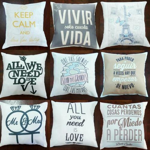 almohadones 30x30 personalizados frases funda desmontable