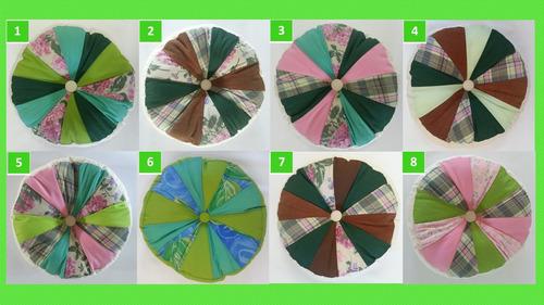 almohadones redondos, diseño, patchwork