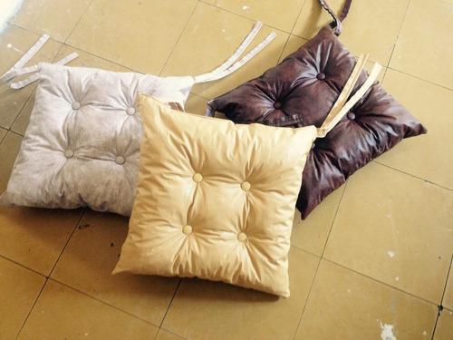 almohadones silla con 8 botones - todo ecocuero 1era calidad