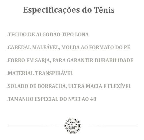 alpargata tênis masculino tamanho especial promoção