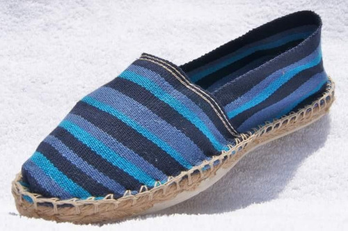 alpargatas made in france - rayadas tonos azul oscuro