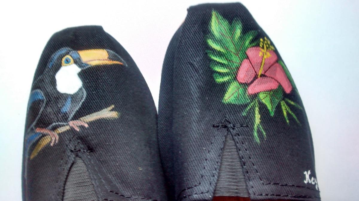 alpargatas mujer artesanal tucan tropical !