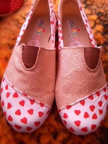 alpargatas super comodas corazones zapatos bajos dama num 24