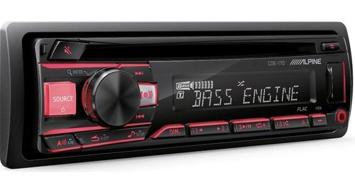 alpine cde-170 radio cd/mp3/wma/flac, usb, entrada aux, com.