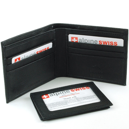 alpine suiza hombre 2-en-1 bi-fold wallet & card case negro
