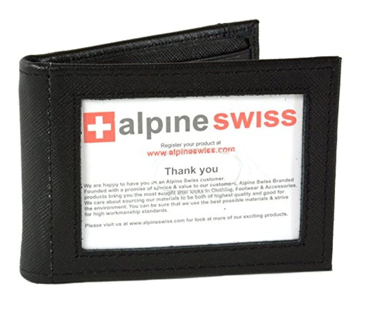 AlpineSwiss Mens Bifold Spring Loaded Leather Money Clip Wallet Crosshatch Black