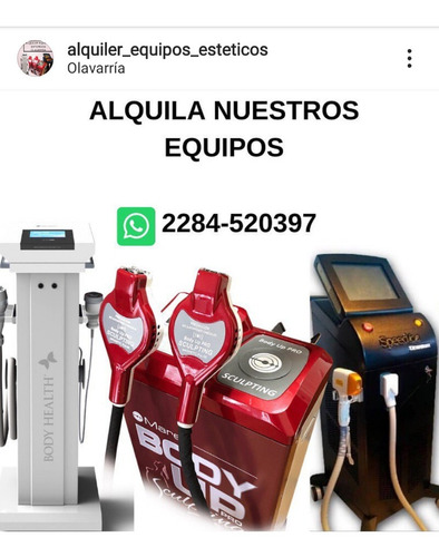 alq equipos estéticas -  depilación - crio - himfu - body up