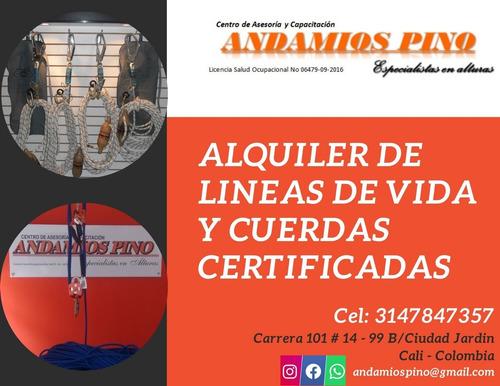 alquiler andamios certificados arnes eslingas lineas de vida