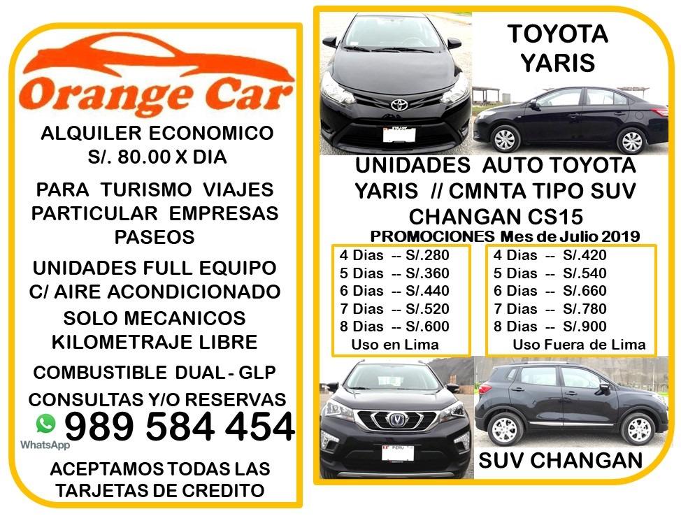 c09f07fa3 Alquiler Auto Economico S/80.diario Particular/empresa/viaje - S/ 80 ...