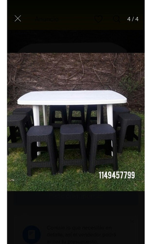alquiler banquetas plasticas simil rattan/ mesas plasticas
