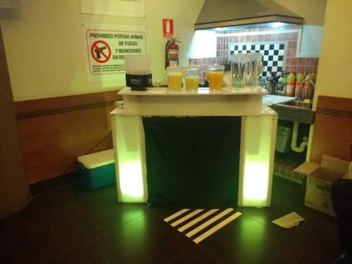 alquiler barra móvil iluminada bartender cócteles bebidas