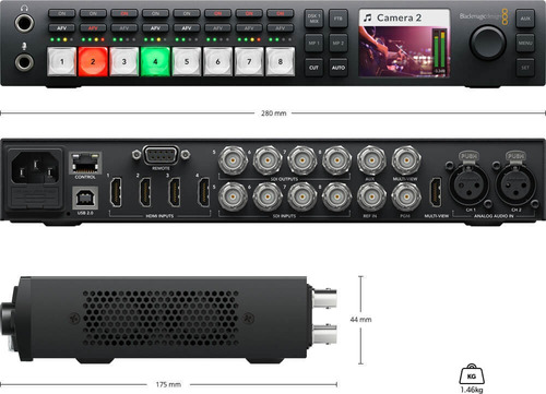 alquiler black magic atem tv studio hd operación switcher