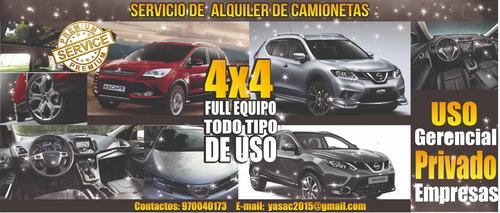alquiler camionetas a1 4x4 nuevas toyota rav4-ford-tucson