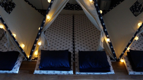 alquiler carpas tipi pijama party, mini living, candy bar