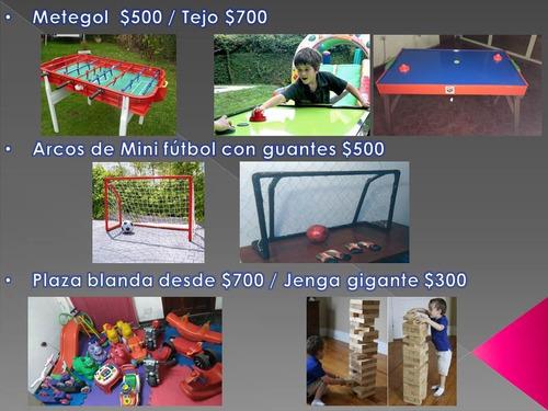 alquiler castillo inflable metegol mini-fútbol ping pong