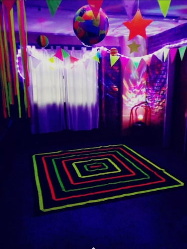 alquiler colchonetas - puff unica pijamadas fluo neon unisex