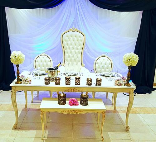 alquiler combo mesa sillas y sillones para 15 años bodas .