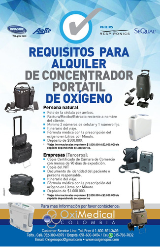 alquiler concentrador portatil oxigeno avianca oximedical bg