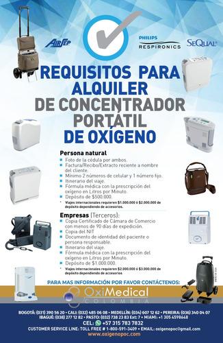 alquiler concentrador portatil oxigeno jet blue oximedical