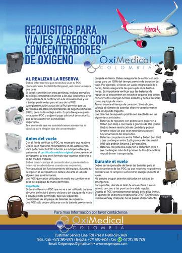 alquiler concentrador portatil oxigeno spirit air oximedical