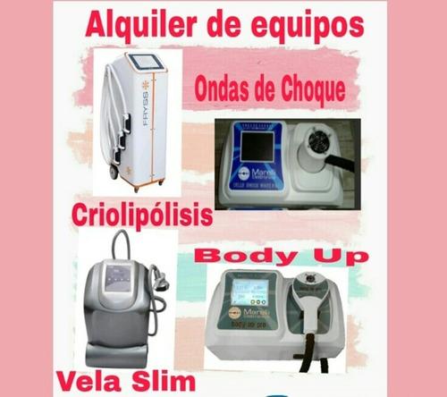 alquiler criolipólisis plana, ondas de choque, body up, 14 h