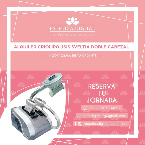 alquiler criolipolisis sveltya doble cabezal