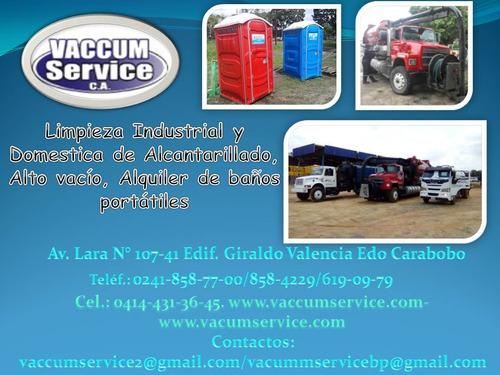 alquiler de camión vacuum y baños portatiles