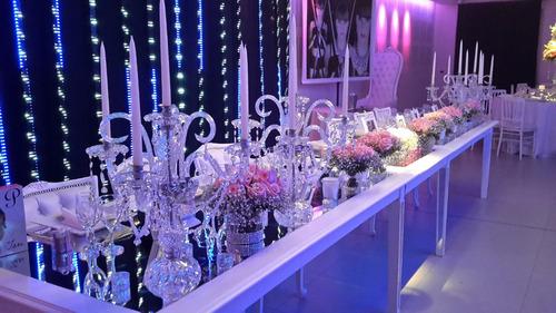 alquiler de candelabro,centro de mesa ,cortina luces,muebles