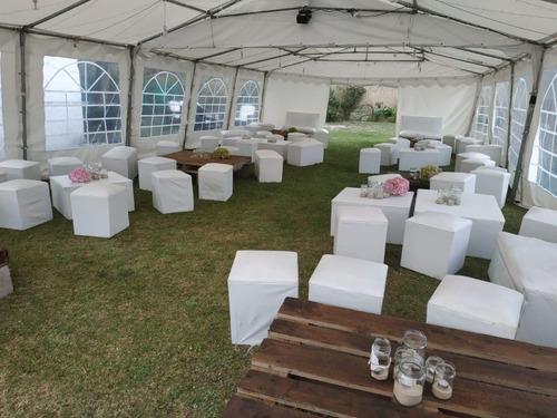 alquiler de carpas living sillas mesas manteles estufas hong