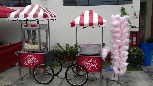 alquiler de carritos snacks  :popcorn,algodones dulces .
