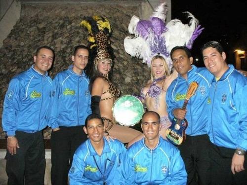 alquiler de discplay, fuego frio , grupo de samba, zancos