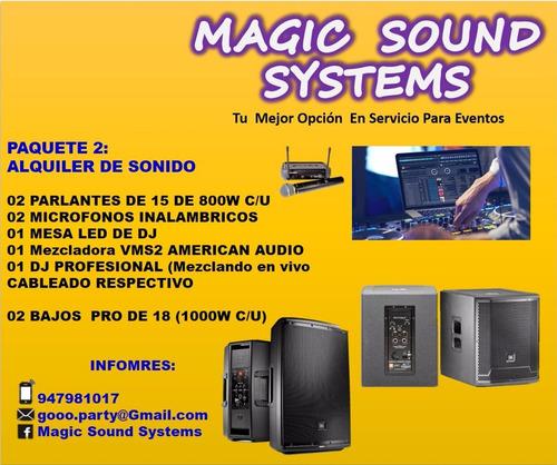 alquiler de equipo de sonido  dj y luces profesionales
